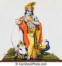 image of hindu god Krishna with cow, peacock and flute on antique pottery tile