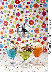 ice creams with disco ball