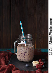 Image of jar with smoothie on table