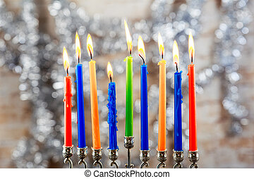 Image of jewish holiday Hanukkah background with menorah...