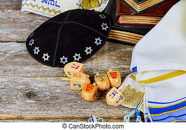 Image of jewish holiday Hanukkah with wooden dreidels colection