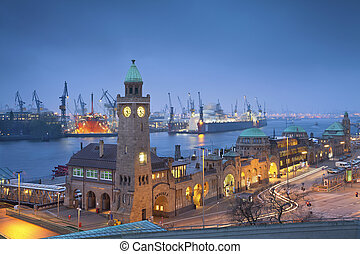 Hamburg, Germany. - Image of Landungsbruecken and the harbor...
