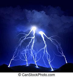 image of lightning on a dark blue background