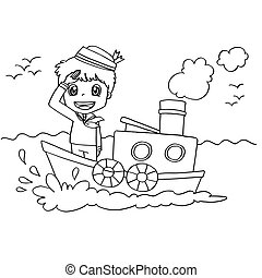 image of Little Boy with a boat  coloring page vector