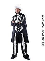 Image of man dressed in carnival skeleton costume