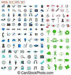 Image of many colorful web icons isolated on a white background.