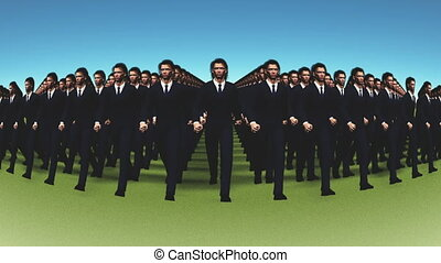 marching businessmen