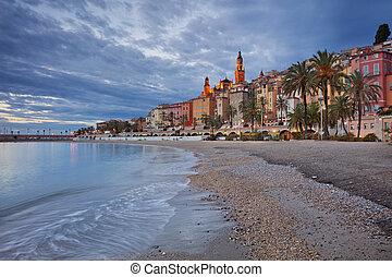 Menton - Image of Menton, French Riviera during twilight...