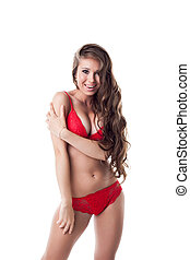 Image of merry sexy model posing in red lingerie