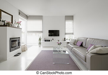 living room - image of modern living room with taupe sofa