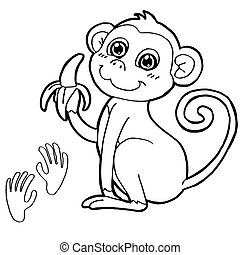 monkey with paw print Coloring Page