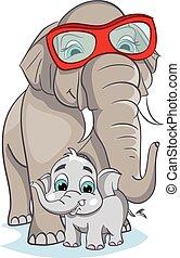 Image of mother elephant with baby elephant.