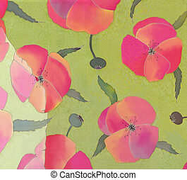 Image of my artwork with a red poppies on green background