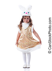 Image of nice curly girl posing in bunny costume