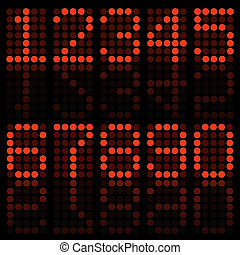 Image of numbers in a red digital font.