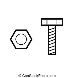 nut and bolt outline vector - image of nut and bolt outline...