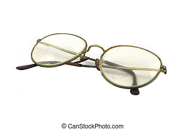 Image of old glasses over a white background