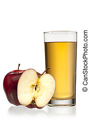 image of one and half apple with apple juice