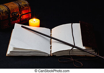 Image of open magic book on the table in the dark room.