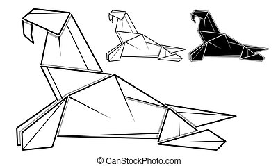 Image of paper walrus origami (contour drawing by line). - ...