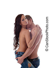 Image of passionate lovers embrace in studio
