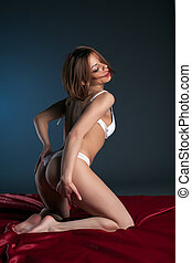 Image of passionate woman in white lingerie