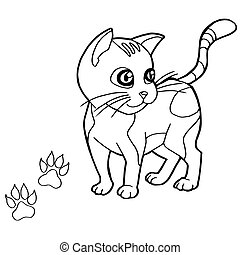 paw print with cat Coloring Pages v
