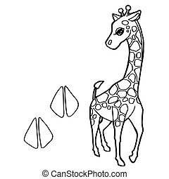 paw print with giraffe Coloring Pages vector