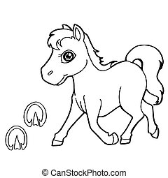 paw print with horse Coloring Pages
