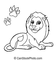 paw print with Lion Coloring Pages
