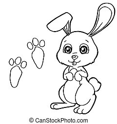 paw print with Rabbits Coloring Pag
