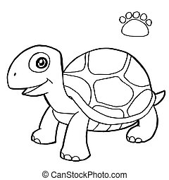 image of paw print with turtle Coloring Page vector