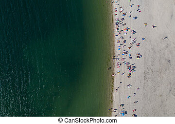 people having a rest on the sea beach, top view, shooting from drone
