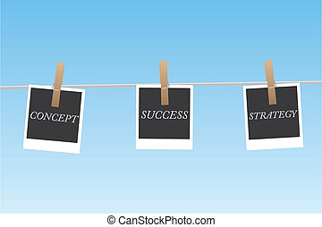 Image of pictures hanging on a clothes line with business concepts.