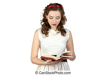 Image of pinup woman reading book