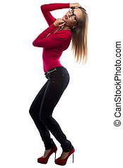 Image of posing woman in red, full length