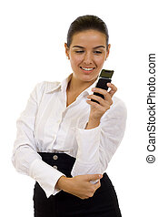 Image of pretty woman holding her mobile