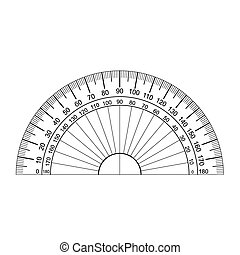 image of Protractor Ruler Vector isolated on white
