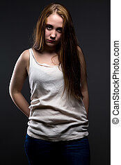 Image of pudgy girl with crumpled shirt