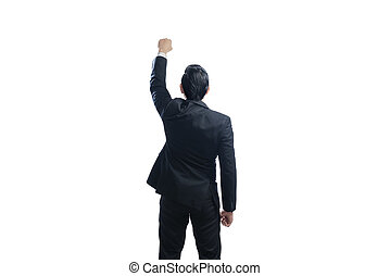 Image of rear view of asian businessman with arms up