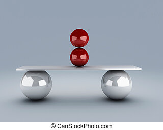 red spheres in equilibrium