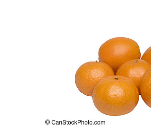 ripe tangerines on a white background