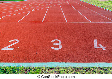 Running track numbers 1 2 3.