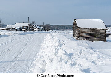 Image of Russian village in winter time