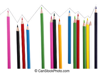 scattered colored pencils - Image of scattered colored...