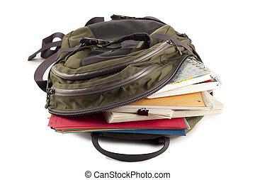 school bag full of school materials - Image of school bag...