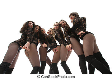 Image of seductive graceful go-go performers, isolated on...