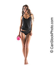 Image of seductive slim woman posing in underwear