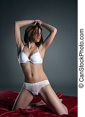 Image of sensual woman in white lingerie