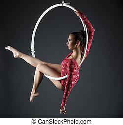 Image of sexy acrobatic girl posing with hoop - Image of...